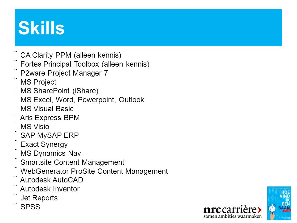 Skills  CA Clarity PPM (alleen kennis)