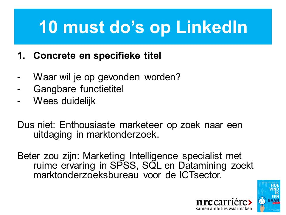 10 must do's op LinkedIn Concrete en specifieke titel
