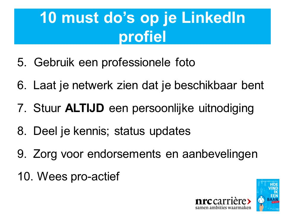 10 must do's op je LinkedIn profiel