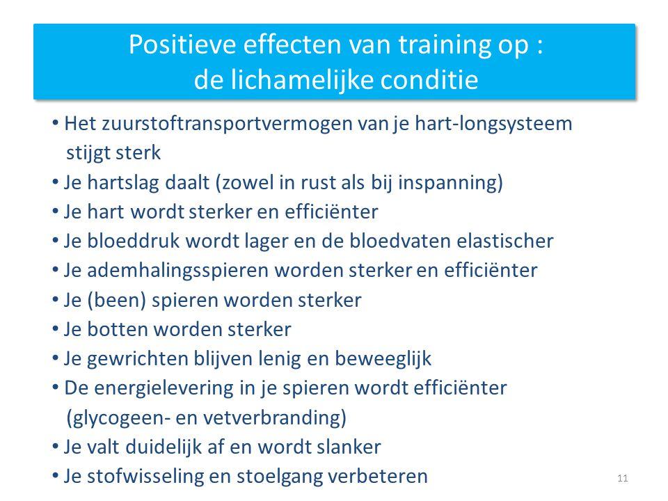 Positieve effecten van training op : de lichamelijke conditie