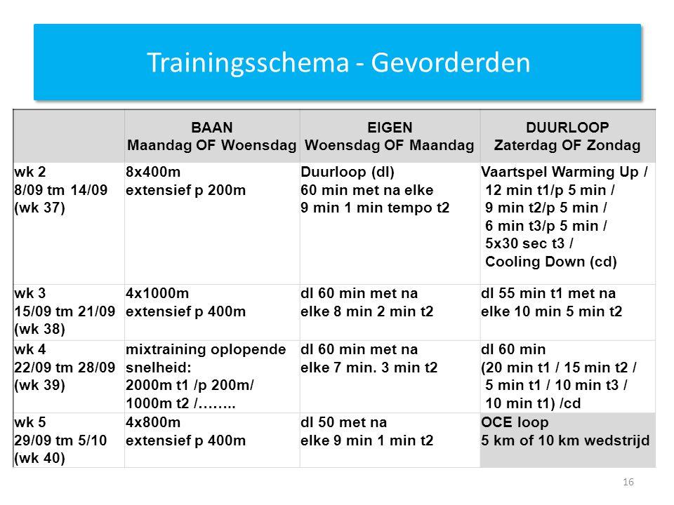 Trainingsschema - Gevorderden