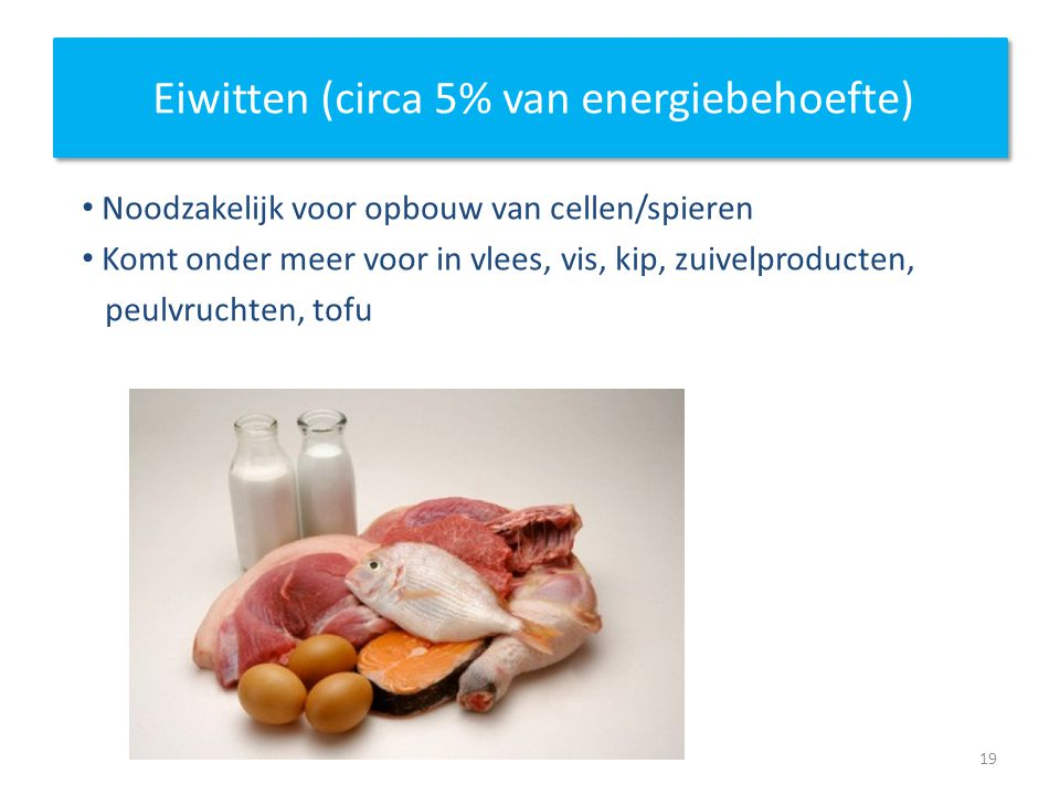 Eiwitten (circa 5% van energiebehoefte)