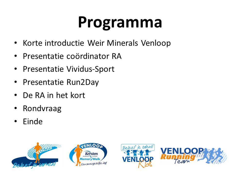 Programma Korte introductie Weir Minerals Venloop