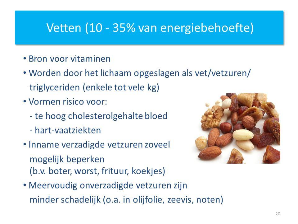 Vetten (10 - 35% van energiebehoefte)