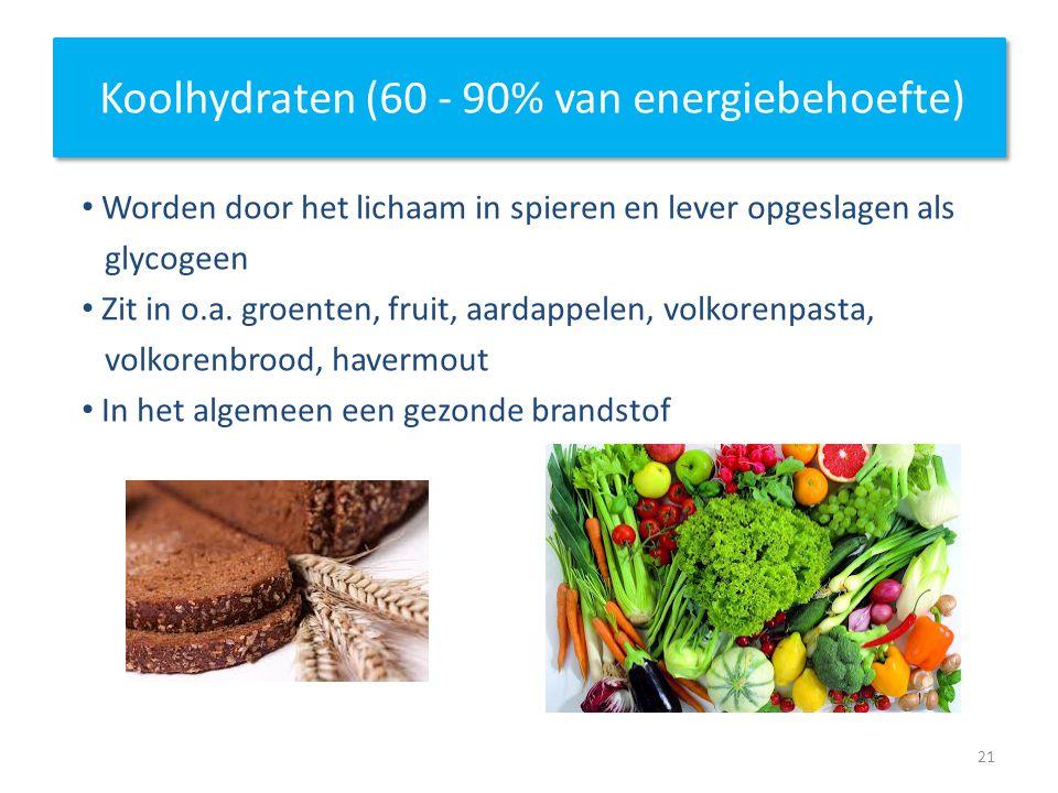 Koolhydraten (60 - 90% van energiebehoefte)