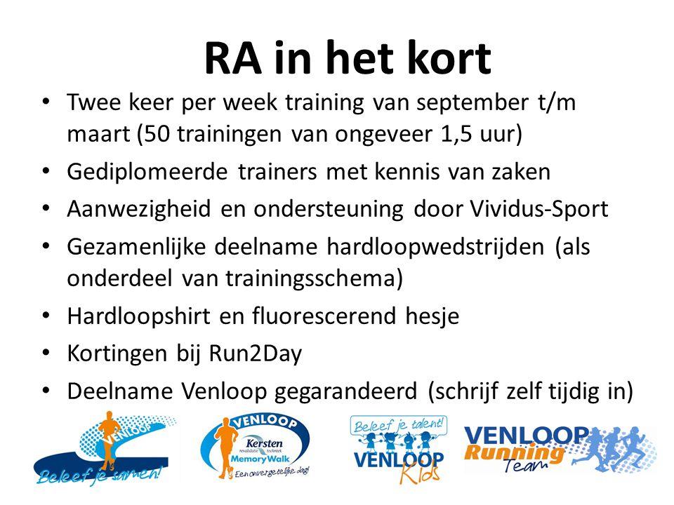 RA in het kort Twee keer per week training van september t/m maart (50 trainingen van ongeveer 1,5 uur)