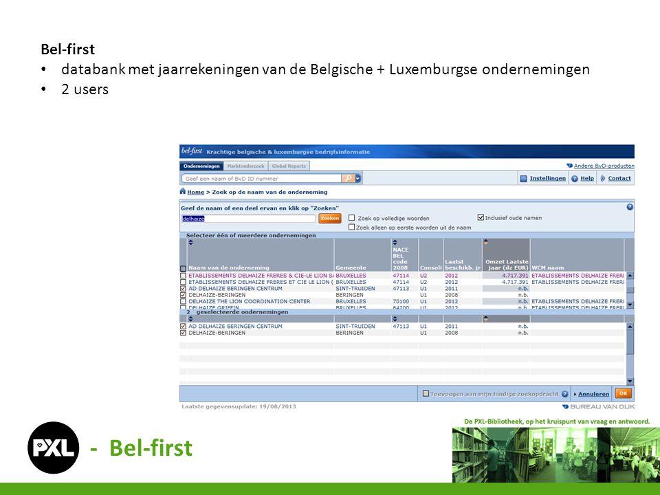 Bel-first databank met jaarrekeningen van de Belgische + Luxemburgse ondernemingen.