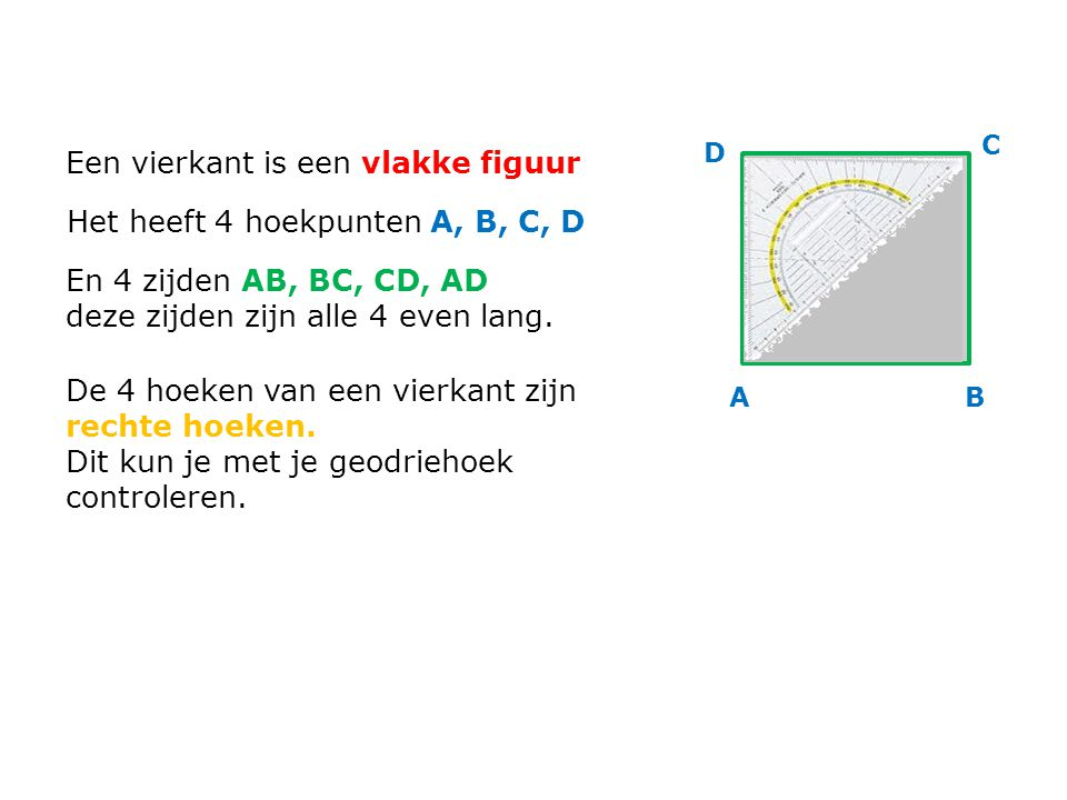 Een vierkant is een vlakke figuur