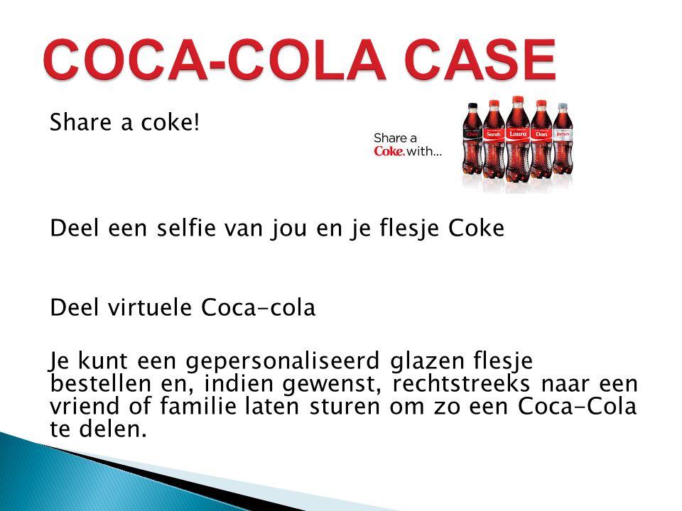 COCA-COLA CASE Share a coke! Deel een selfie van jou en je flesje Coke