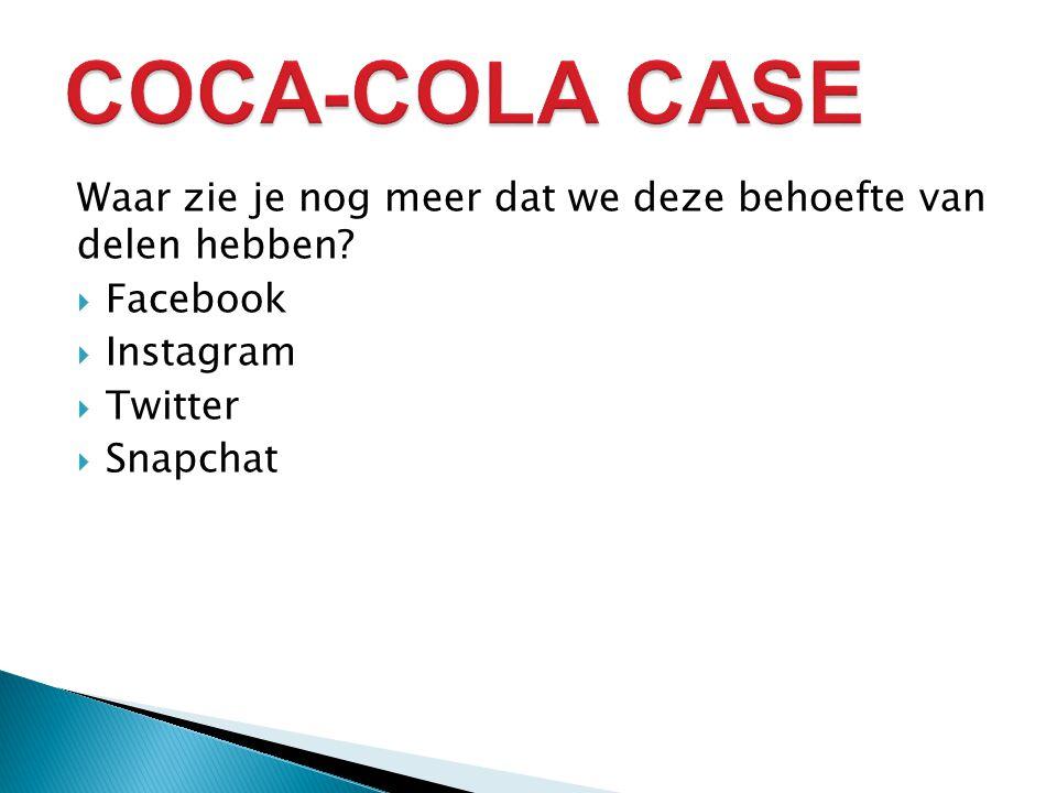 COCA-COLA CASE Waar zie je nog meer dat we deze behoefte van delen hebben Facebook. Instagram. Twitter.