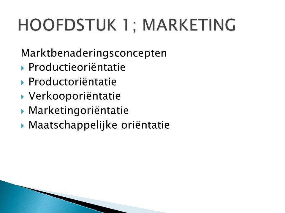 HOOFDSTUK 1; MARKETING Marktbenaderingsconcepten Productieoriëntatie