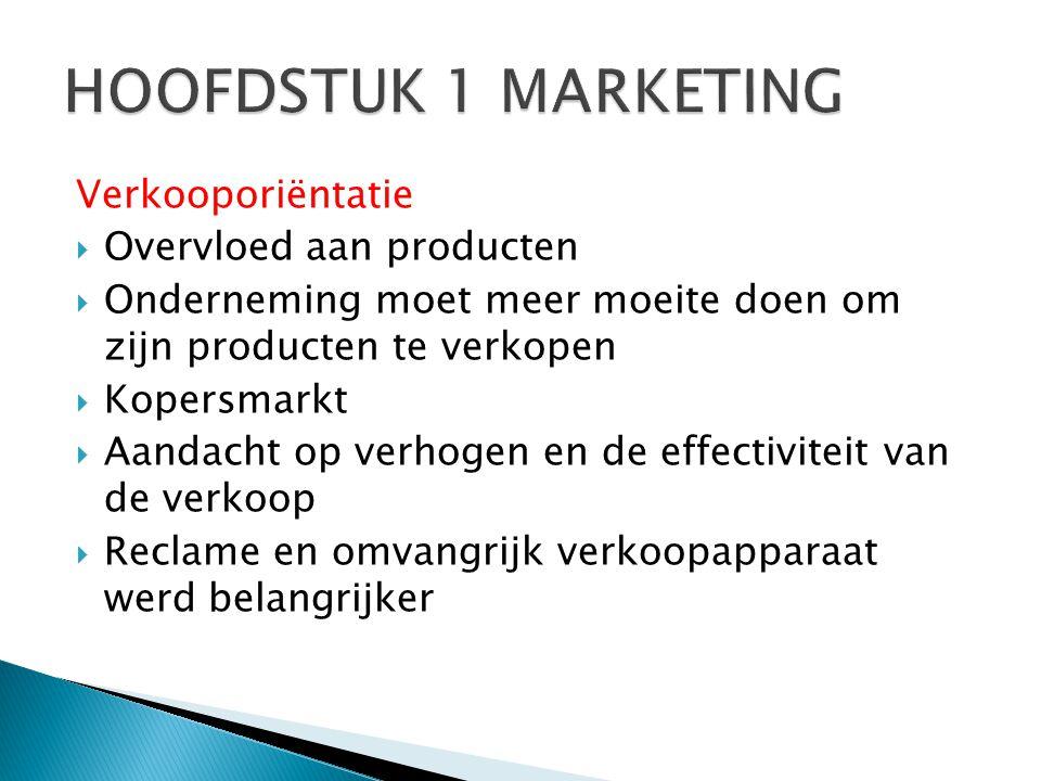 HOOFDSTUK 1 MARKETING Verkooporiëntatie Overvloed aan producten