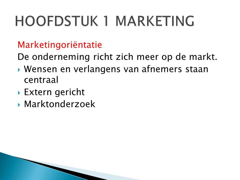 HOOFDSTUK 1 MARKETING Marketingoriëntatie