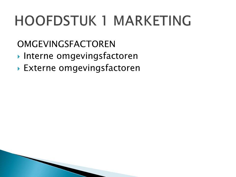 HOOFDSTUK 1 MARKETING OMGEVINGSFACTOREN Interne omgevingsfactoren