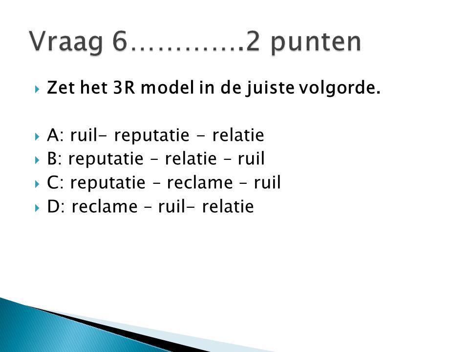 Vraag 6………….2 punten Zet het 3R model in de juiste volgorde.