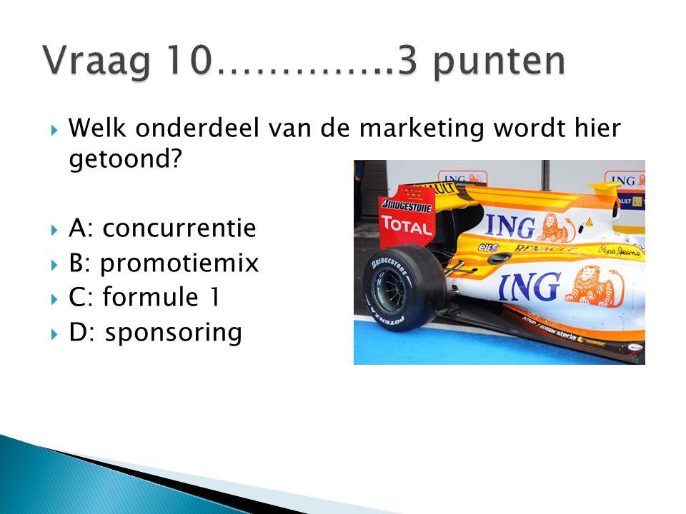 Vraag 10…………..3 punten Welk onderdeel van de marketing wordt hier getoond A: concurrentie. B: promotiemix.