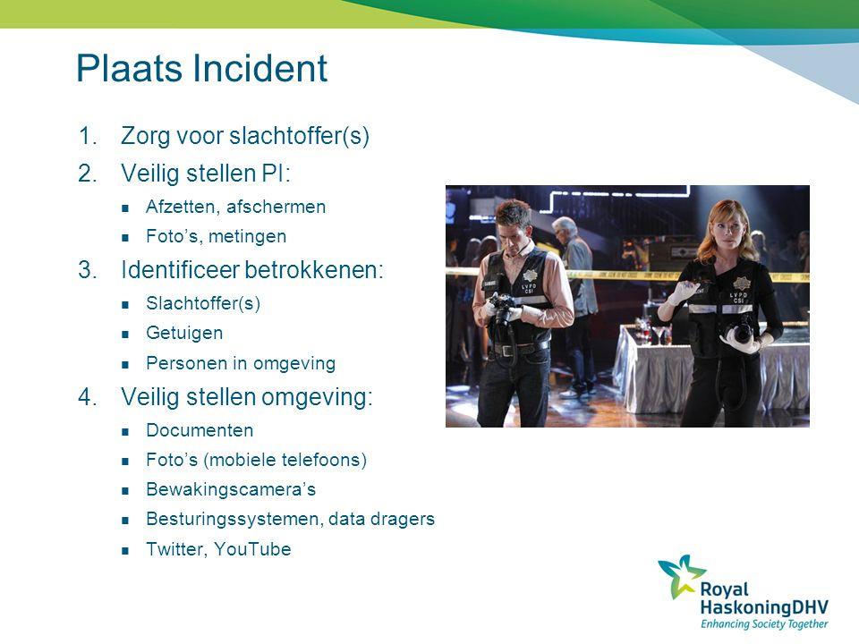 Plaats Incident Zorg voor slachtoffer(s) Veilig stellen PI: