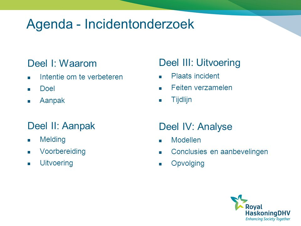 Agenda - Incidentonderzoek