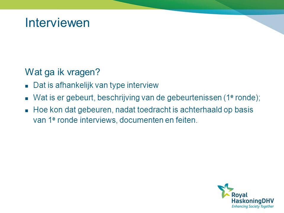 Interviewen Wat ga ik vragen Dat is afhankelijk van type interview