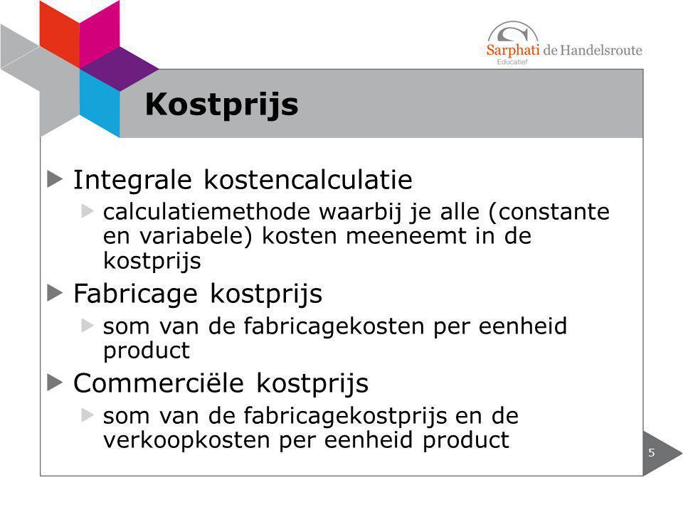 Kostprijs Integrale kostencalculatie Fabricage kostprijs