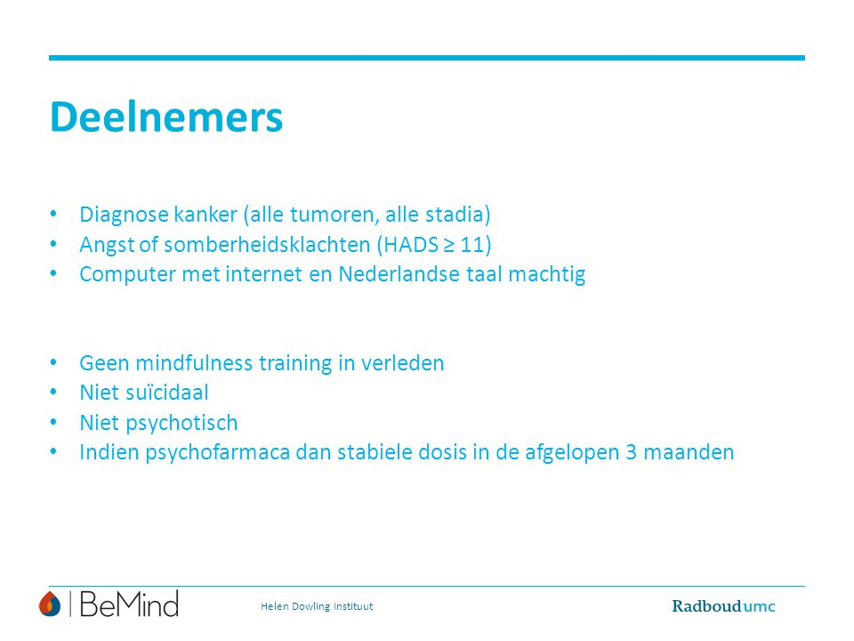 Deelnemers Diagnose kanker (alle tumoren, alle stadia)