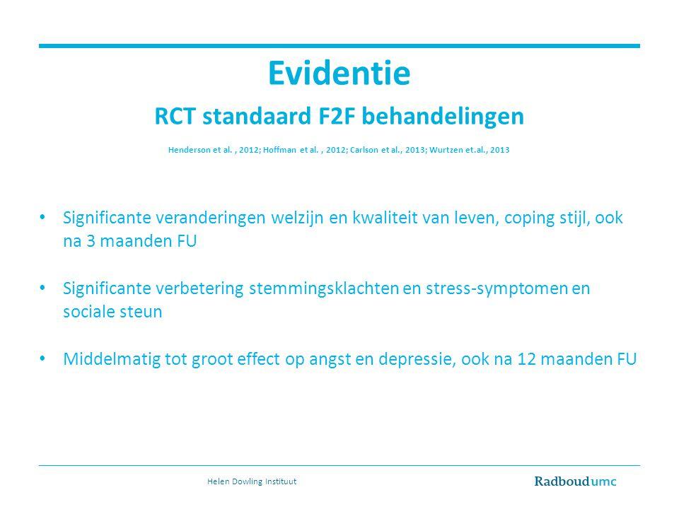 Evidentie RCT standaard F2F behandelingen