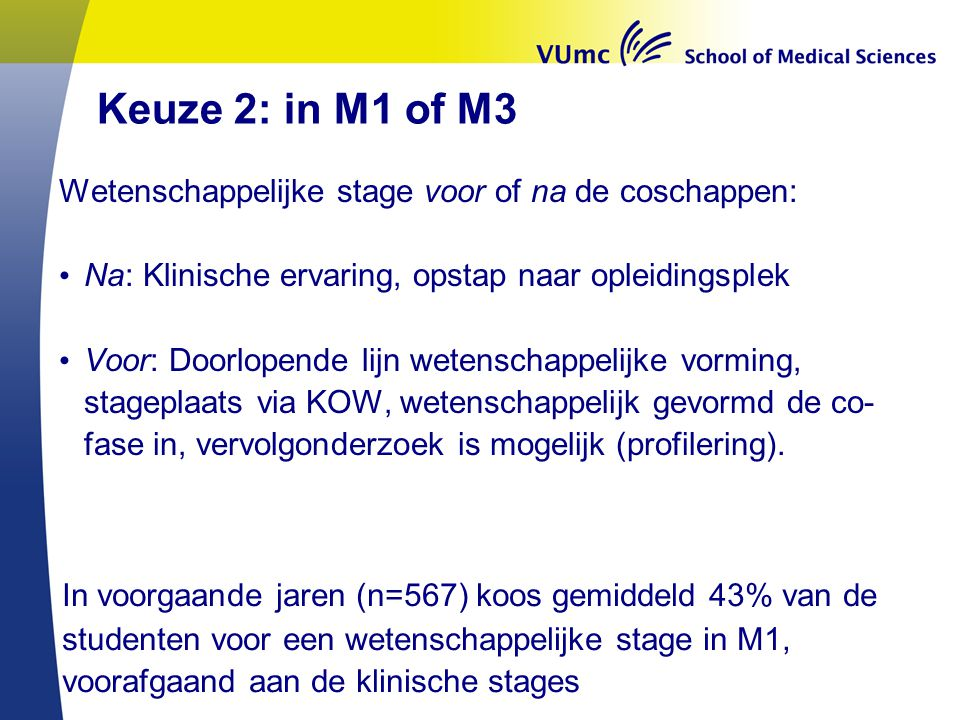 Keuze 2: in M1 of M3 Wetenschappelijke stage voor of na de coschappen: Na: Klinische ervaring, opstap naar opleidingsplek.