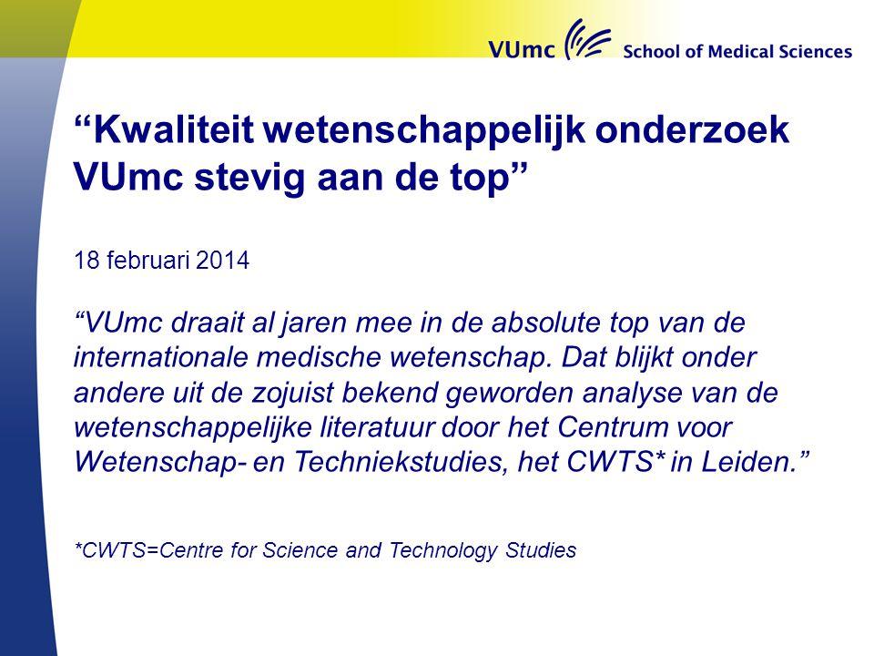 Kwaliteit wetenschappelijk onderzoek VUmc stevig aan de top