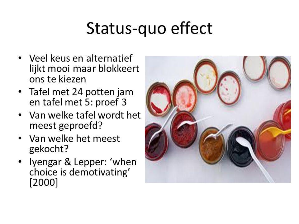 Status-quo effect Veel keus en alternatief lijkt mooi maar blokkeert ons te kiezen. Tafel met 24 potten jam en tafel met 5: proef 3.
