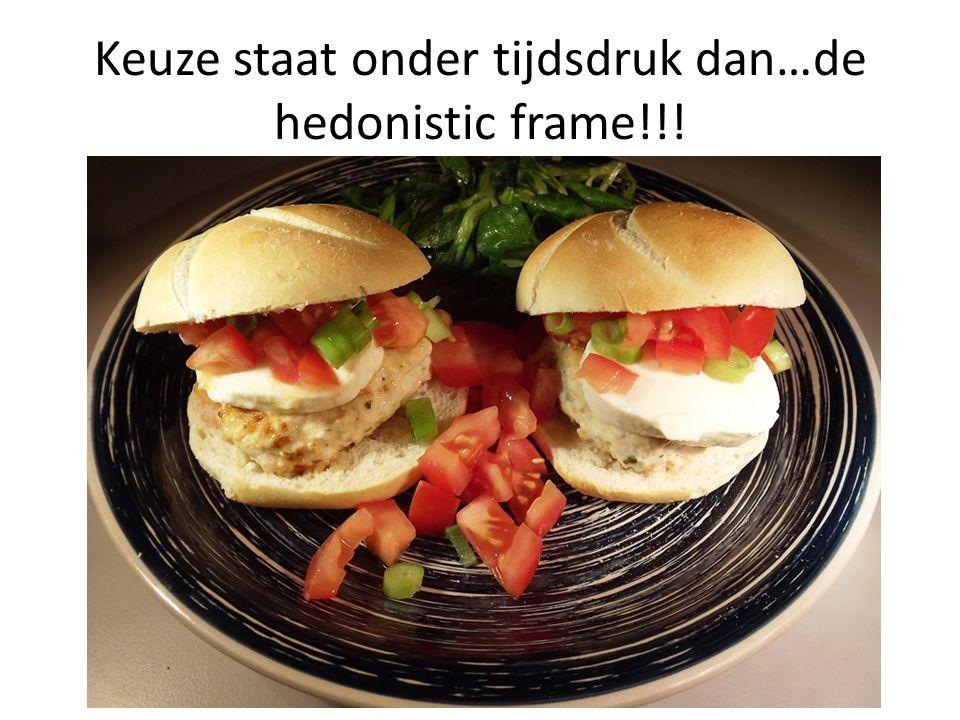 Keuze staat onder tijdsdruk dan…de hedonistic frame!!!