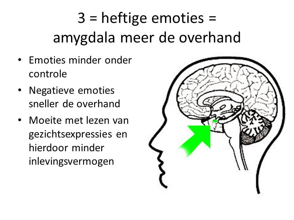 3 = heftige emoties = amygdala meer de overhand