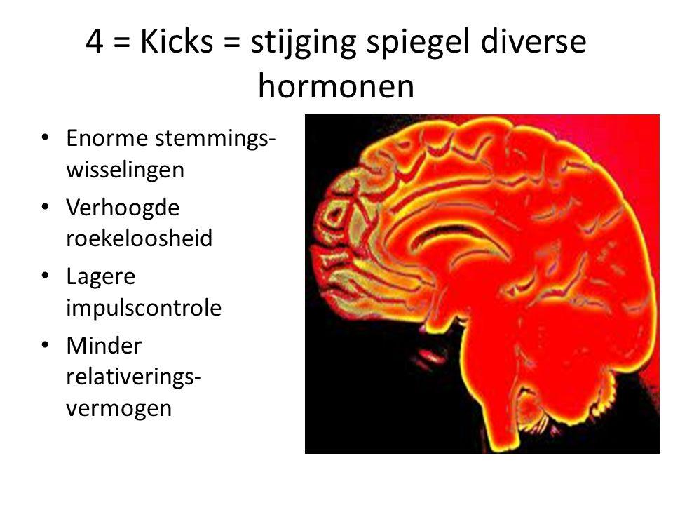 4 = Kicks = stijging spiegel diverse hormonen