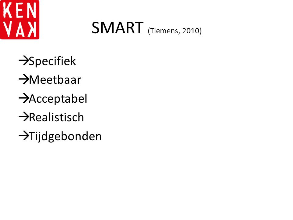 SMART (Tiemens, 2010) Specifiek Meetbaar Acceptabel Realistisch