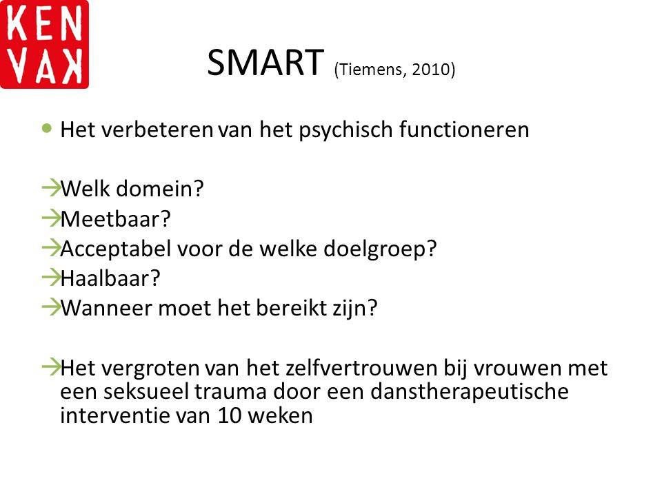 SMART (Tiemens, 2010) Het verbeteren van het psychisch functioneren