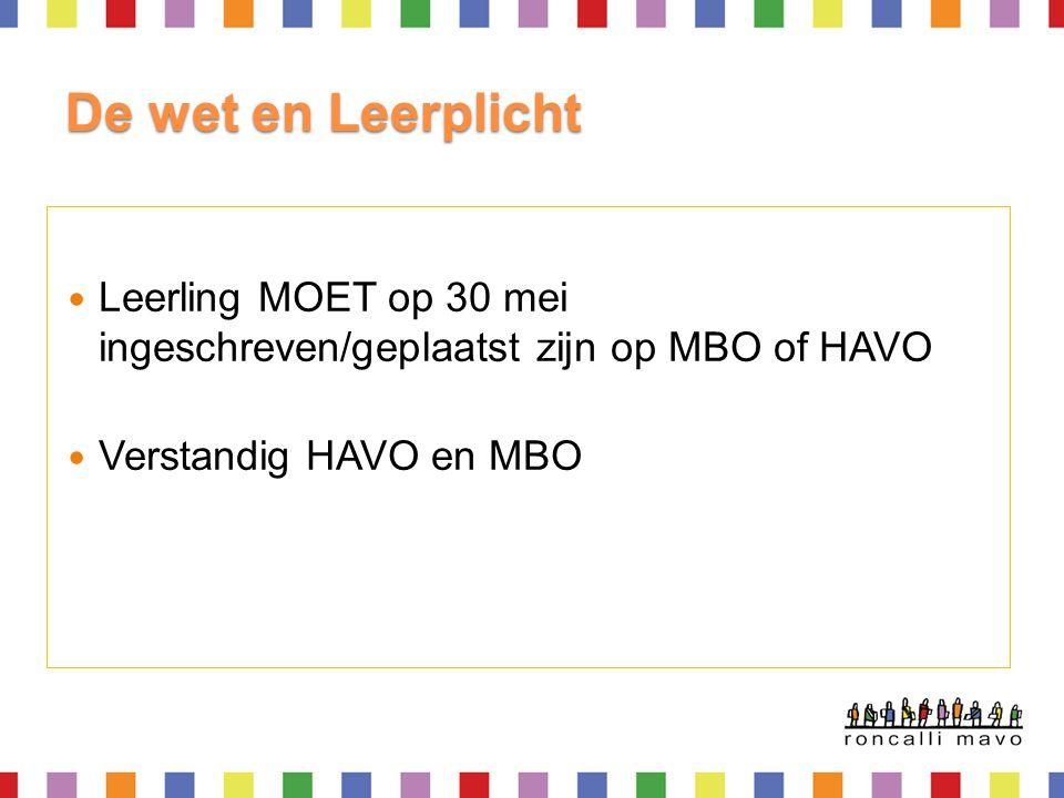 De wet en Leerplicht Leerling MOET op 30 mei ingeschreven/geplaatst zijn op MBO of HAVO.