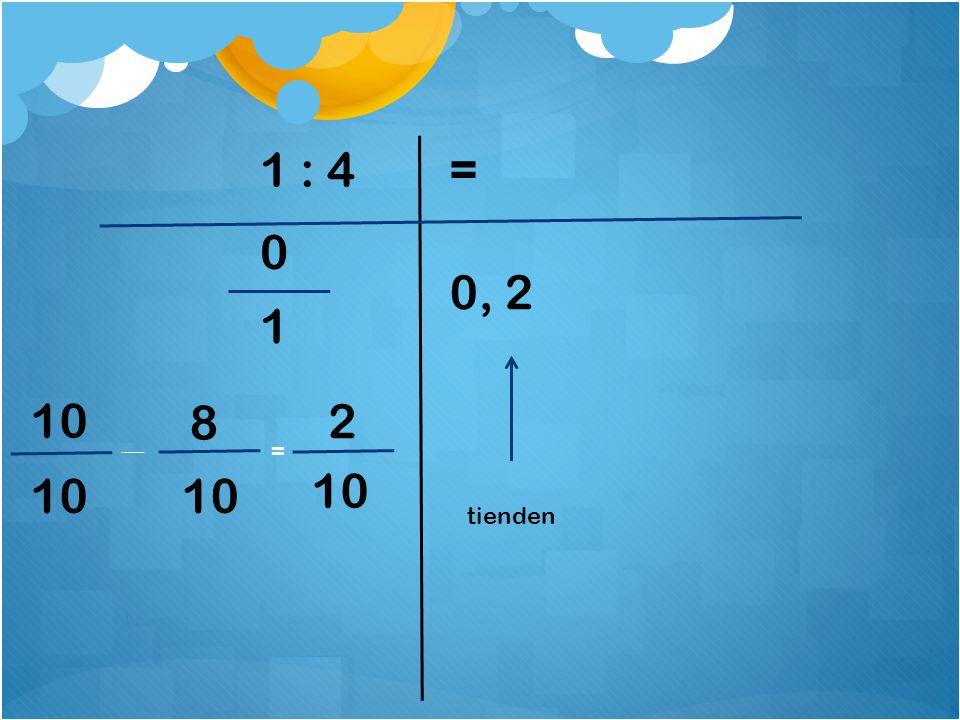 1 : 4 = 0, 2 1 10 8 2 = 10 10 10 tienden