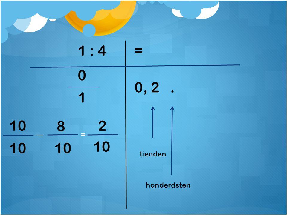1 : 4 = 0, 2 . 1 10 8 2 = 10 10 10 tienden honderdsten