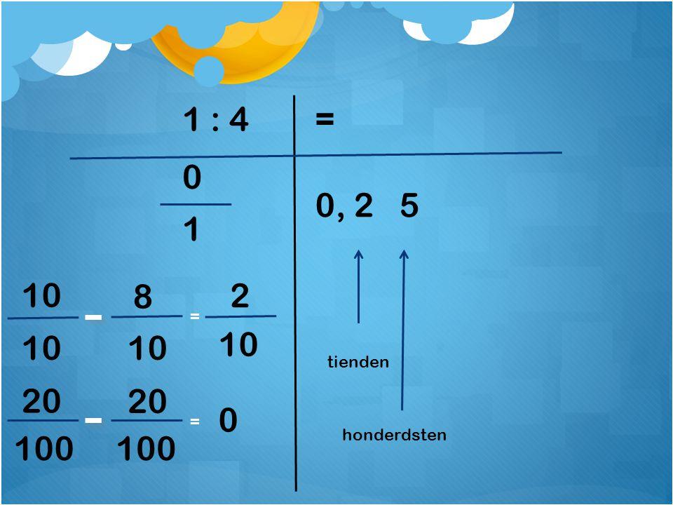 1 : 4 = 0, 2 5 1 10 8 2 = 10 10 10 tienden 20 20 = 100 100 honderdsten