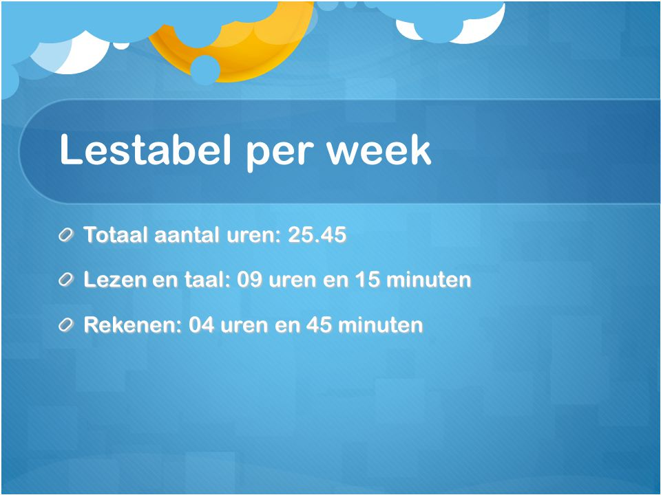 Lestabel per week Totaal aantal uren: 25.45
