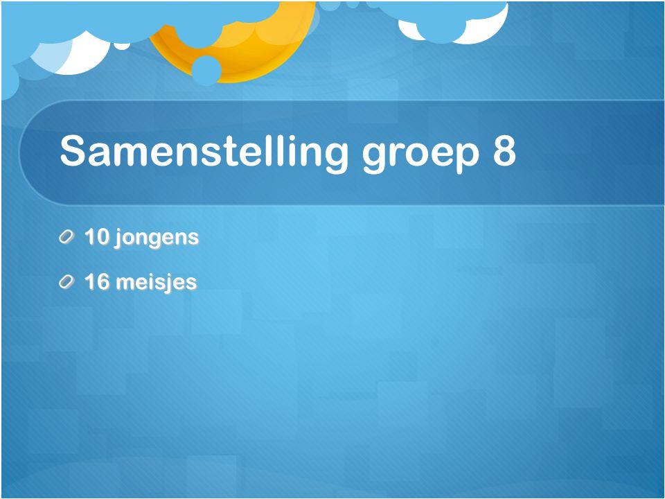 Samenstelling groep 8 10 jongens 16 meisjes