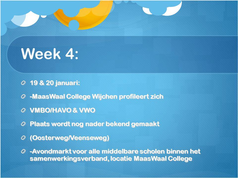 Week 4: 19 & 20 januari: -MaasWaal College Wijchen profileert zich