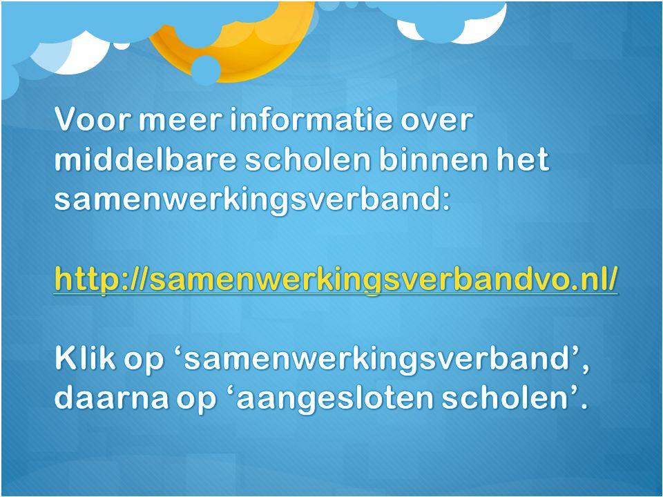 Voor meer informatie over middelbare scholen binnen het samenwerkingsverband:
