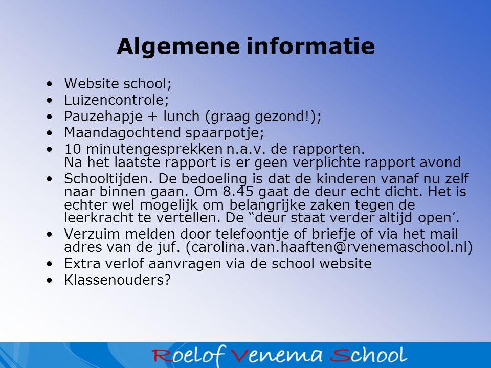 Algemene informatie Website school; Luizencontrole;