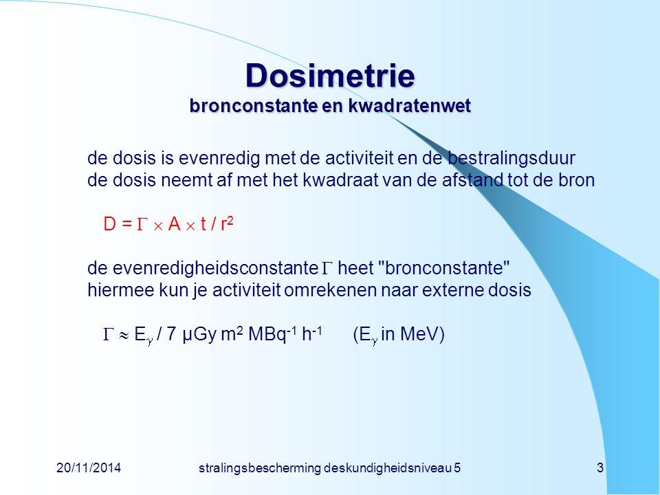 Dosimetrie bronconstante en kwadratenwet