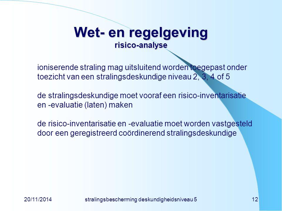 Wet- en regelgeving risico-analyse