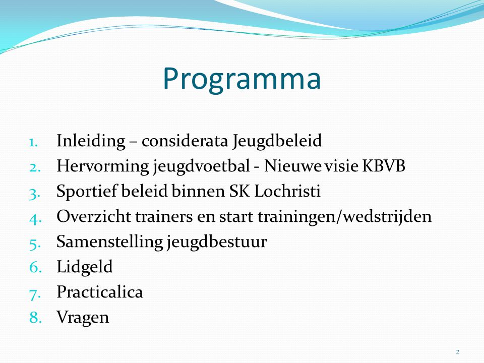Programma Inleiding – considerata Jeugdbeleid