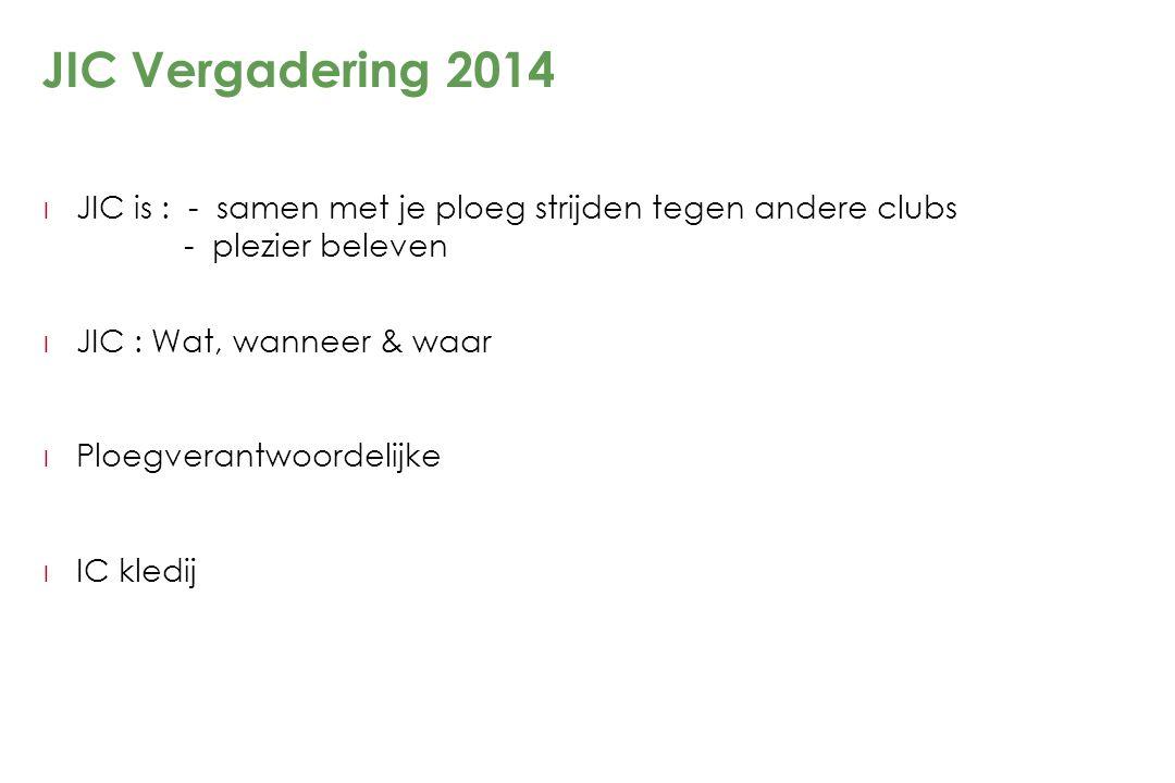 JIC Vergadering 2014 JIC is : - samen met je ploeg strijden tegen andere clubs - plezier beleven