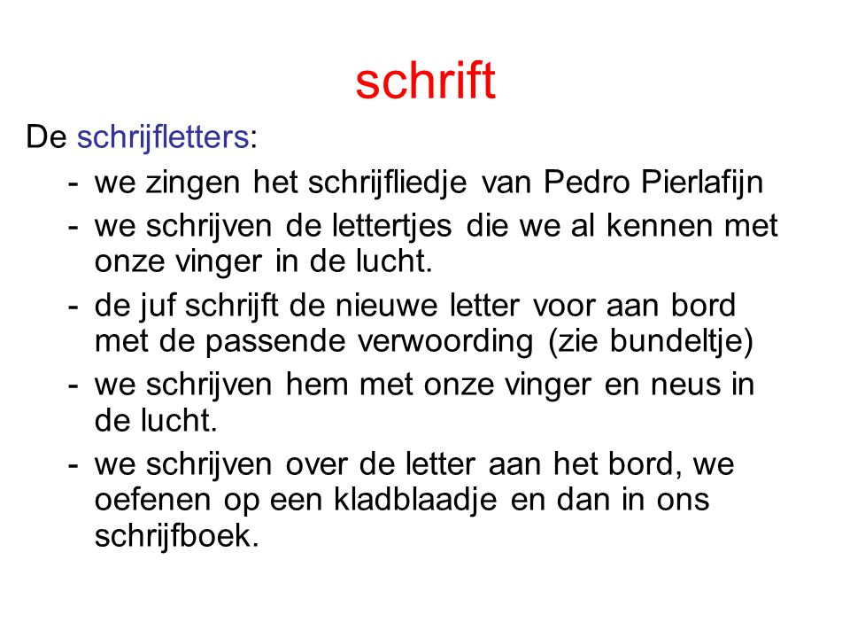 schrift De schrijfletters: