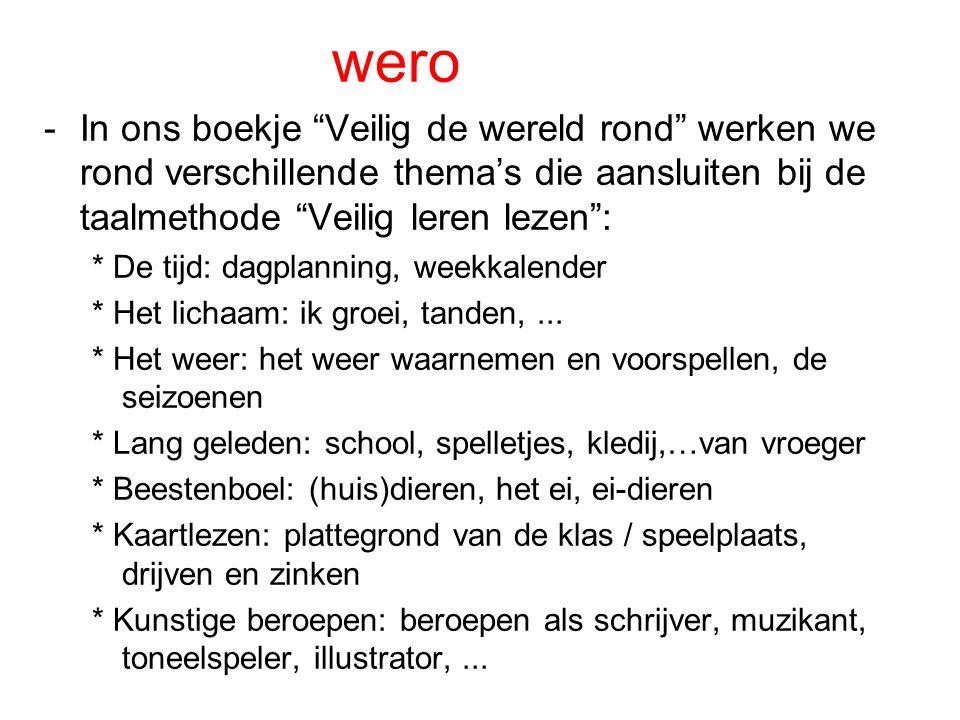 wero In ons boekje Veilig de wereld rond werken we rond verschillende thema's die aansluiten bij de taalmethode Veilig leren lezen :