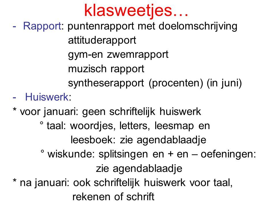 klasweetjes… Rapport: puntenrapport met doelomschrijving